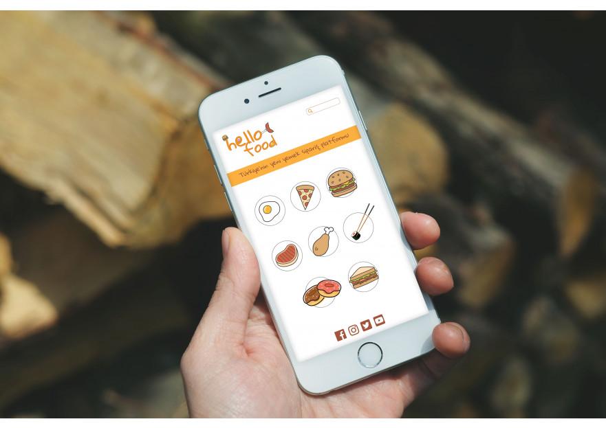 Hello Food uygulamasına logo yarışmasına tasarımcı mugeyalcin tarafından sunulan  tasarım