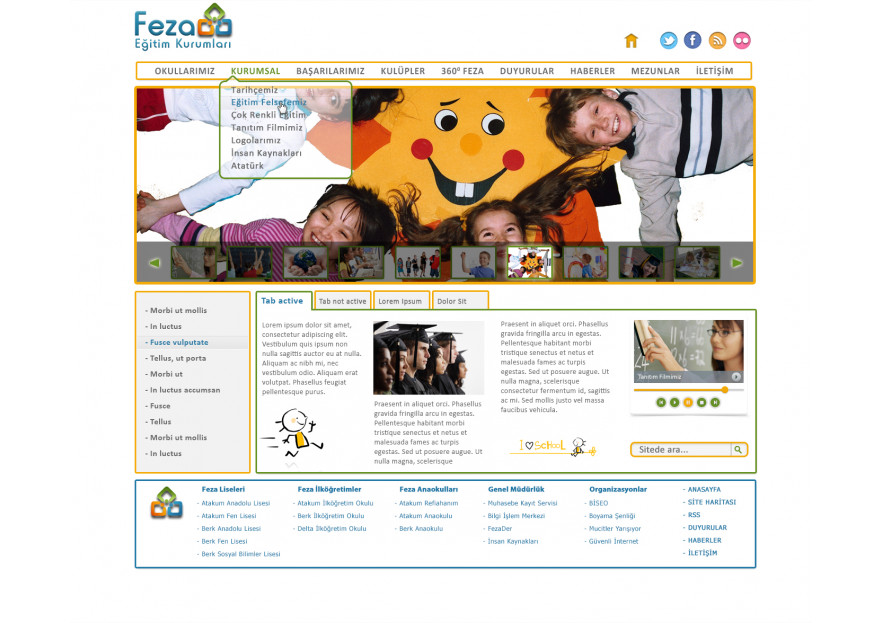 Özel Okul Web Sitesi yarışmasına tasarımcı onyxus tarafından sunulan  tasarım