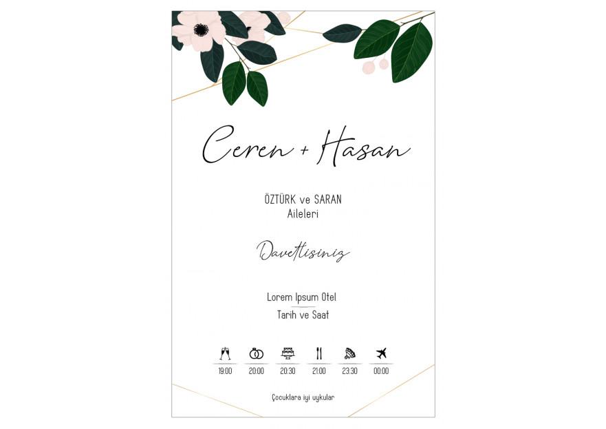 Düğün davetiyesi yarışmasına tasarımcı gizemsaral tarafından sunulan  tasarım