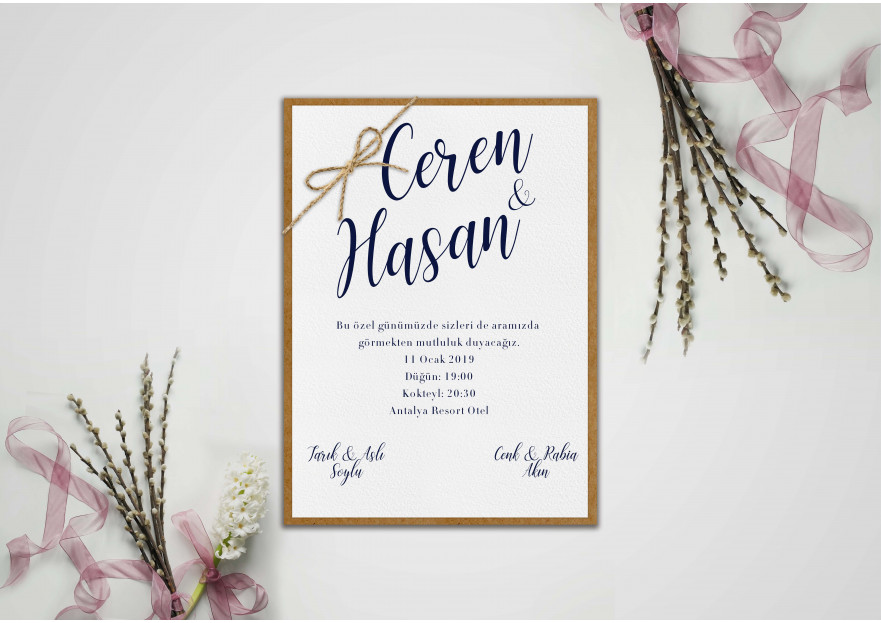 Düğün davetiyesi yarışmasına tasarımcı Thomas Bewick tarafından sunulan  tasarım