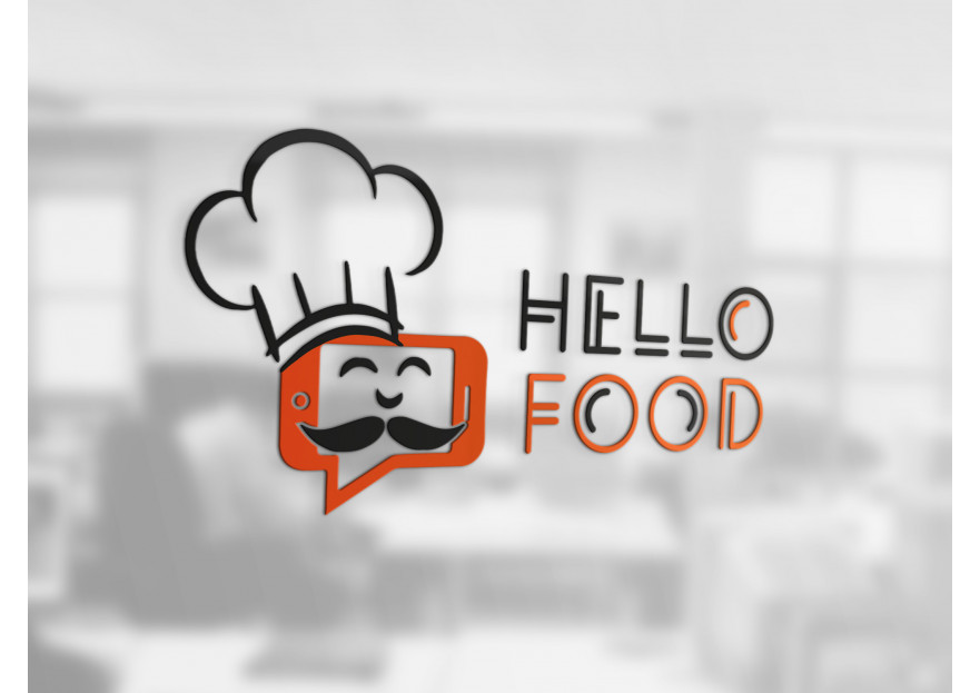 Hello Food uygulamasına logo yarışmasına tasarımcı LogoMerkezi.com tarafından sunulan  tasarım
