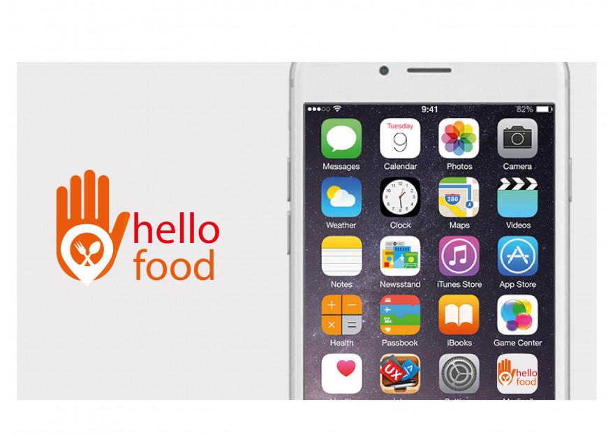 Hello Food uygulamasına logo yarışmasına tasarımcı menissama tarafından sunulan  tasarım