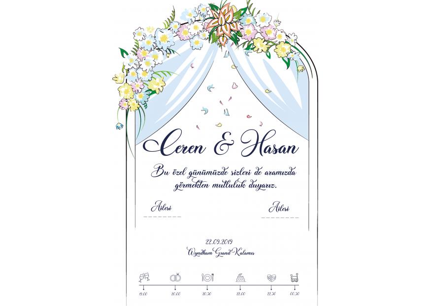 Düğün davetiyesi yarışmasına tasarımcı agenc93 tarafından sunulan  tasarım