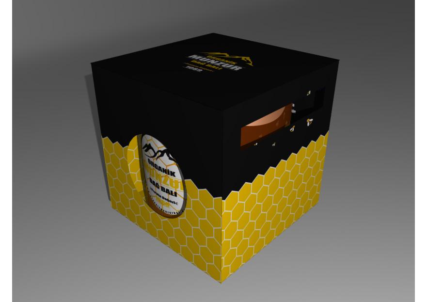 Organik bal kavanozu kutusu yarışmasına tasarımcı One tarafından sunulan  tasarım
