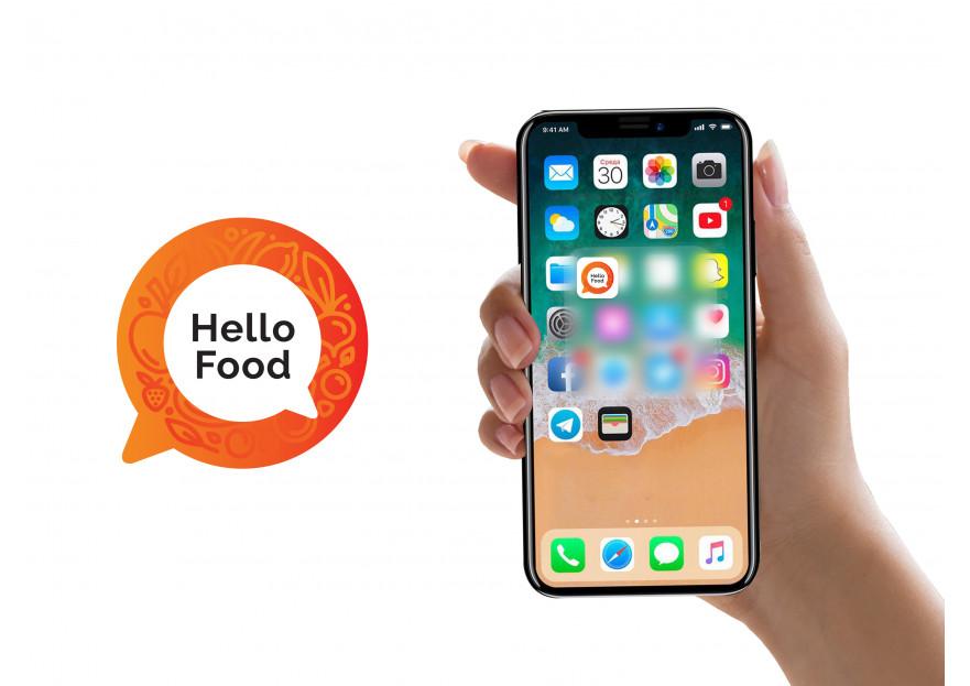 Hello Food uygulamasına logo yarışmasına tasarımcı BerfuBilen tarafından sunulan  tasarım
